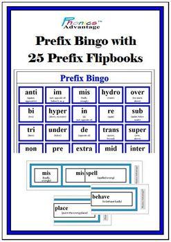 Prefix Bingo with 25 Prefix Flipbooks