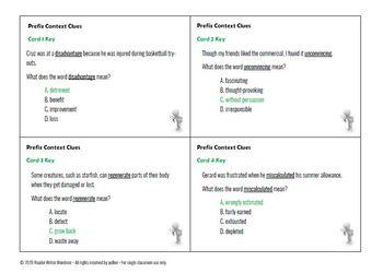 Context Clues: Prefixes dis-, mis-, re-, un- [Task Cards]
