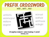 Prefix Crossword Puzzle: Mid, Mis, Anti