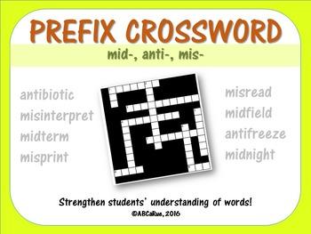 Prefix Crossword Puzzle: Mid, Mis, Anti