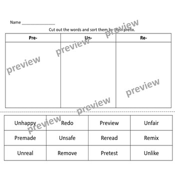 Prefix Cut and Paste Sort (re-, pre-, mis-, un-, dis-)