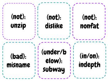 Prefix Flash Cards (Orton Gillingham)