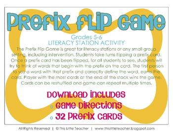 Prefix Flip Game for Grades 5, 6 {Literacy Station}