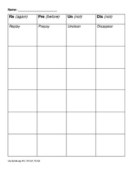 Prefix Game and Chart + Worksheet Reinforcer
