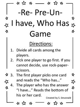 Prefix Games: I have Who Has and Matching