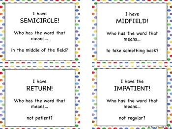 """Prefix  """"I have....  Who has...""""  Game!  Fun way to review common prefixes!"""