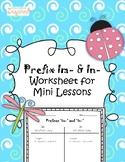 Prefix Im- and In- worksheet printable