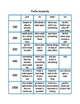 Prefix Jeopardy