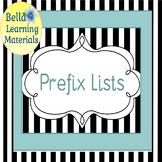 Prefix Lists  - Montessori Word Study