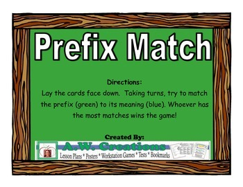Prefix Match Workstation Game or Small Group Activity