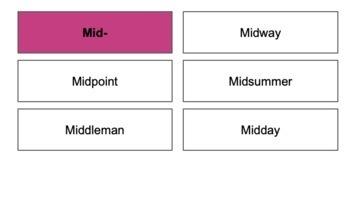 Prefix Mid- Word Sort
