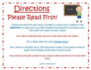 Prefix Mis Task Cards for Journeys 3rd Grade