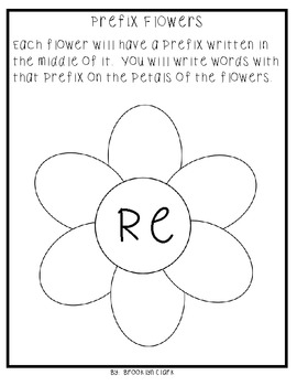 Prefix Packet - Notes, Guided Practice, and Flower Crafts