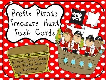 Prefix Pirate Teasure Hunt Task Cards