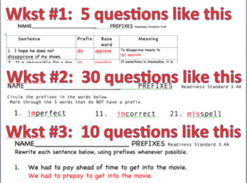 Prefix Practice:  4 worksheets