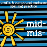 Prefix Practice - mid- and mis- - Summery, Sunny Word Work -2nd Grade