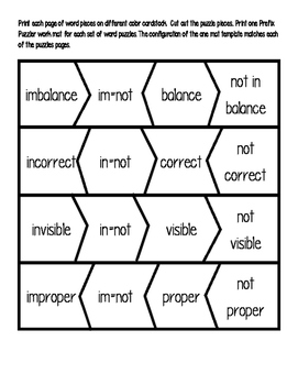 Prefix Puzzlers im-, in-, il-, ir