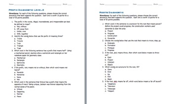 Prefix & Root Word Parts Level 2 (Worksheet and Quiz)
