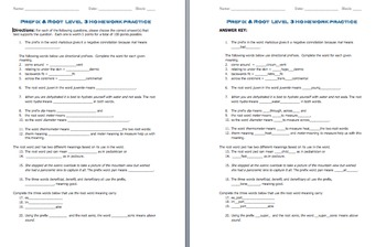 Prefix & Root Word Parts Level 3 (Worksheet and Quiz)