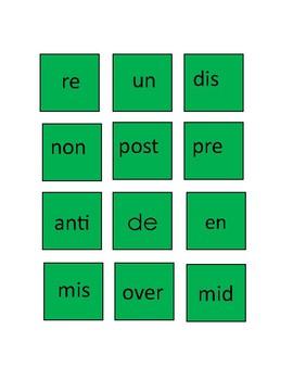 Prefix, Roots, Suffix Activity