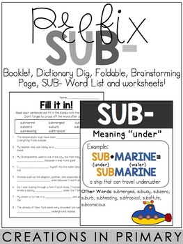 Prefix SUB- by Creations in Primary | Teachers Pay Teachers