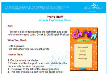 'PREFIX GAME' -  My Prefix Game 'Shout' Aids Learning the Meaning of Prefixes