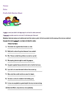 Prefix Skill Review Sheet