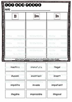 Prefix Sort IL, IM, IN | Cut and Paste Worksheets