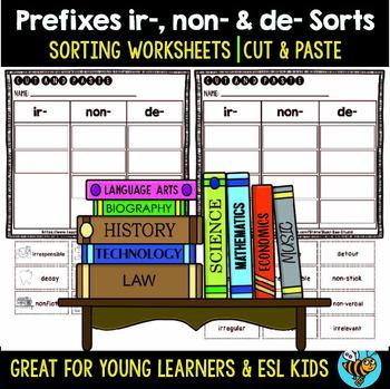 Prefix Sort IR, NON, DE | Cut and Paste Worksheets