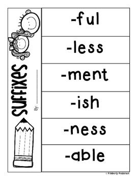 Prefixes - Suffixes Practice: Spinner and Flipbook Activity -  RF.2.3d