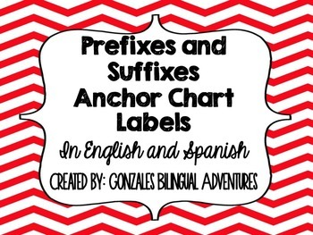 Prefix-Suffix Anchor Chart Headings BILINGUAL