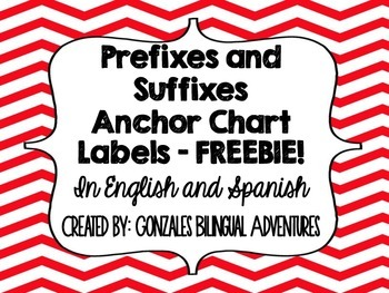 Prefix-Suffix Anchor Chart Headings BILINGUAL FREEBIE!!!