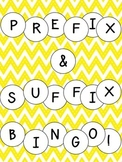 Prefix Suffix Bingo Activity
