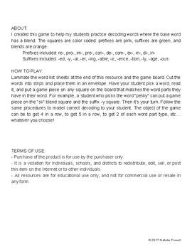 Prefix/Suffix/Blend Game: For Dyslexia Intervention