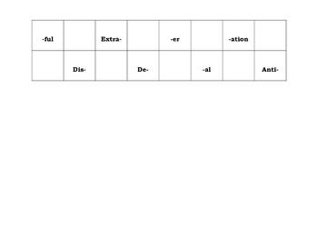 Prefix & Suffix Checkers Board