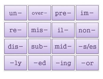 Prefix & Suffix Concentration Game - 3rd Grade Common Core