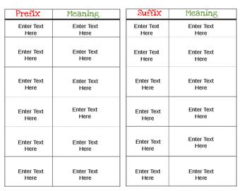 Prefix & Suffix EDITABLE Christmas Activity