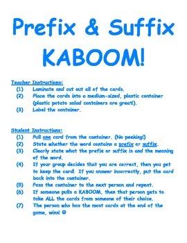 Prefix & Suffix KABOOM