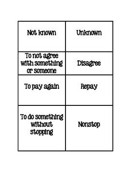 Prefix Suffix Memory-Matching Game