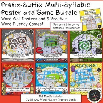 Prefix-Suffix Multisyllabic Poster and Game Bundle