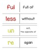 Prefix Suffix Practice Pack -ful, -less, un-, re-