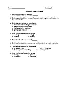 Prefix Suffix Pre/Post Test