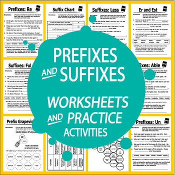 Prefix & Suffix Worksheets (12 Worksheets and Prefix & Suffix ...