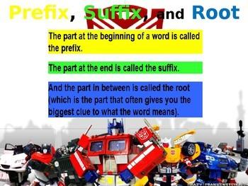 Prefix, Suffix, Root Word Transformers