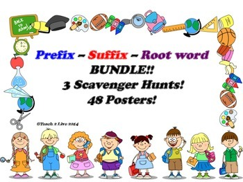 Prefix, Suffix, Root word: Scavenger Hunt and Poster Bundle
