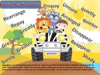 Prefix Suffix Safari Animal Cracker Center Game Common Cor