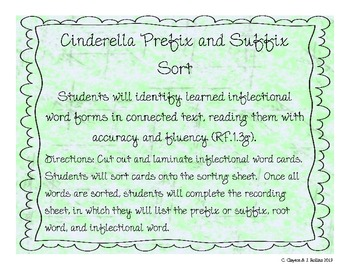 "Prefix & Suffix Sort (for CCSS Unit 6, ""Around the World with a Glass Slipper"")"