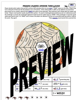 Prefixes, Suffixes, Root Words  Spider Web Game