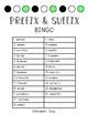 Prefix & Suffix Task Card Bingo
