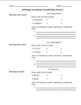 Prefix & Suffix Vocabulary Independent Practice in Cornell Notes Format